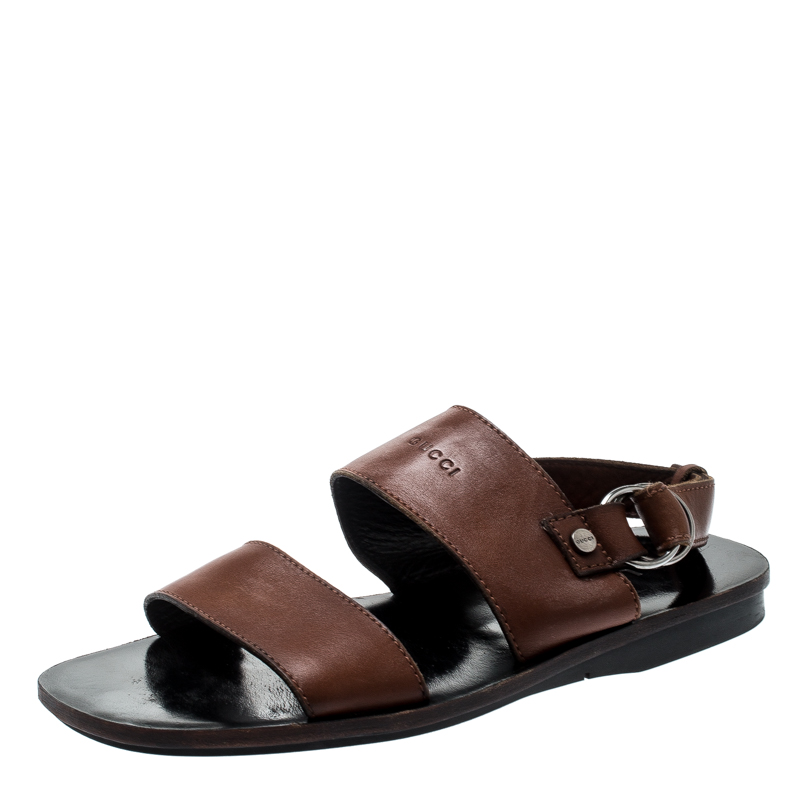ce22b1b97 Buy Gucci Brown Leather Ankle Strap Sandals Size 41 200952 at best ...