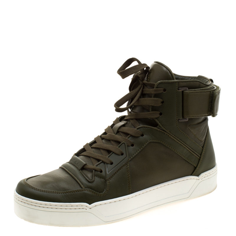 Gucci EverGreen Leather BasketBall High Top Sneakers Size 41