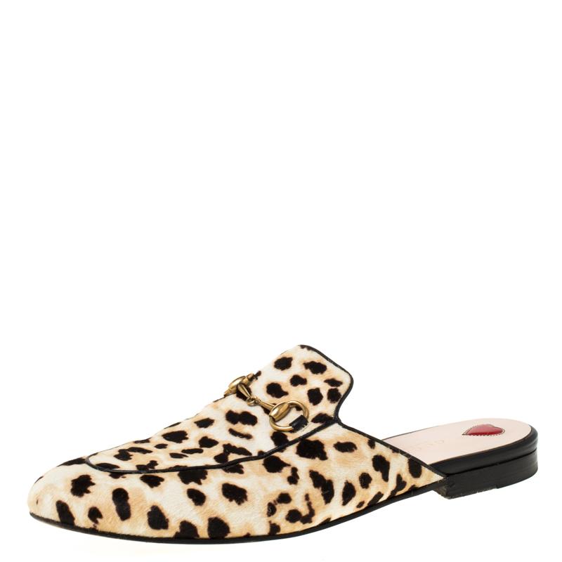 Gucci Beige Leopard Print Calfhair