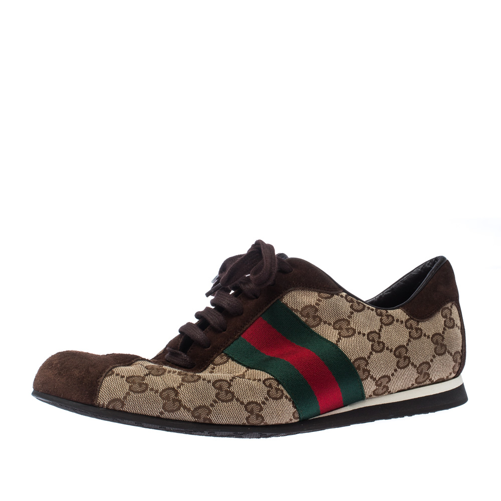Gucci Beige/Brown GG Canvas And Suede