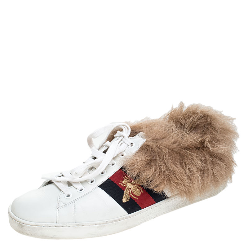 Gucci White Leather and Fur Ace