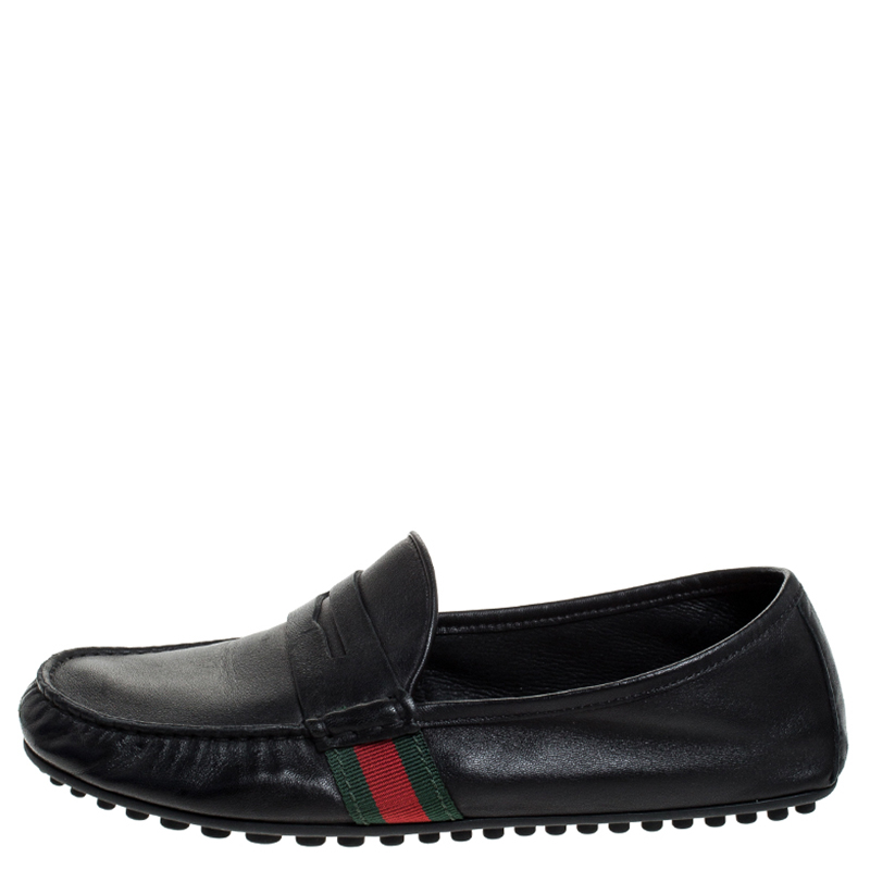 Gucci Black Leather Web Penny Loafers Size