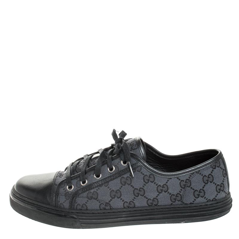 Gucci Schwarz/Navy Blue Leder Und GG Leinwand Low Top Sneaker Größe 43