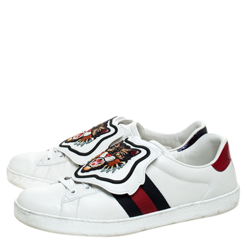 Gucci White Leather, Python Trim And