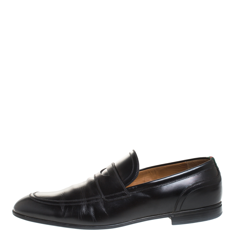 Gucci Black Leather Web Detail Penny Loafers Size