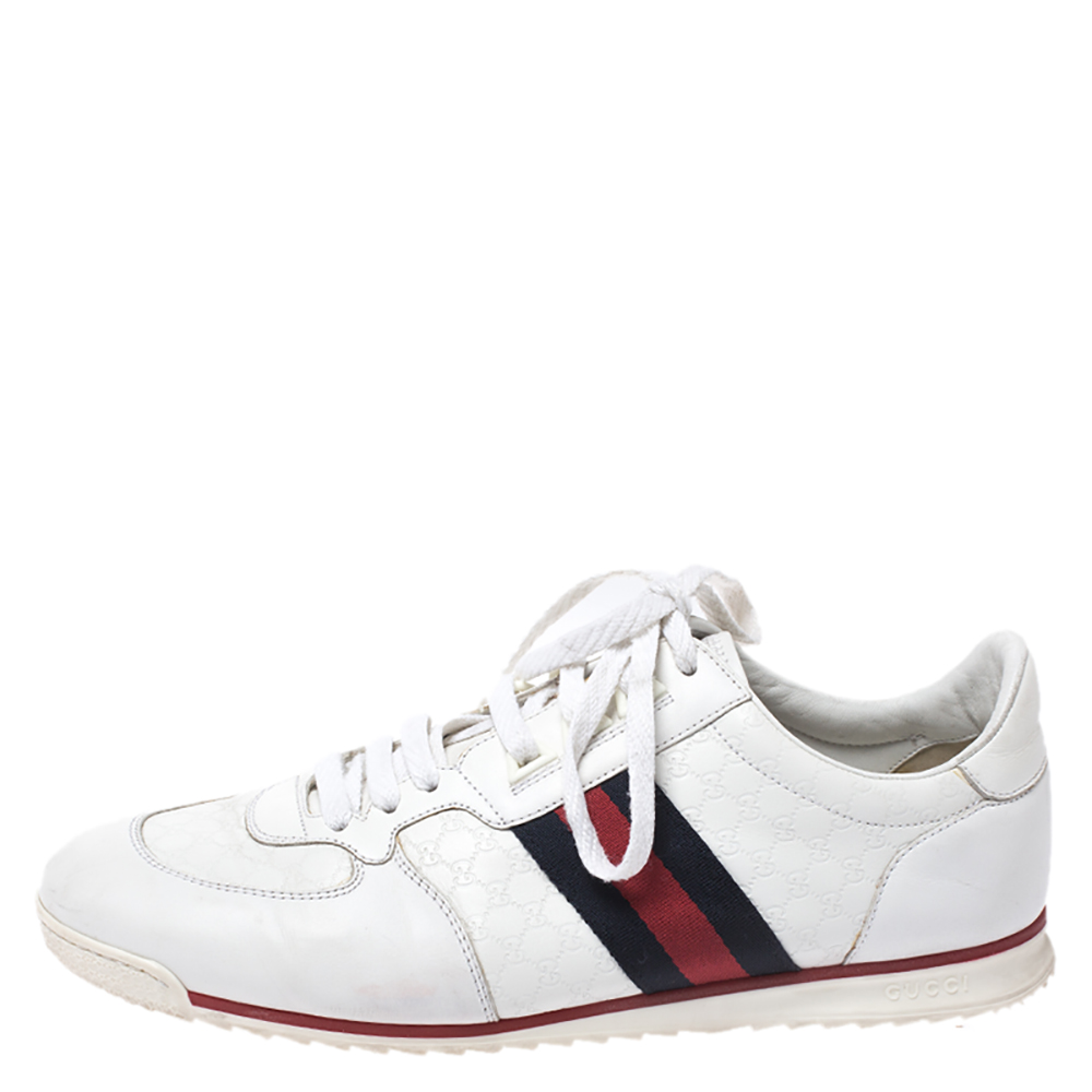 Gucci White Micro Guccissima Leather Web Detail Sneakers Size