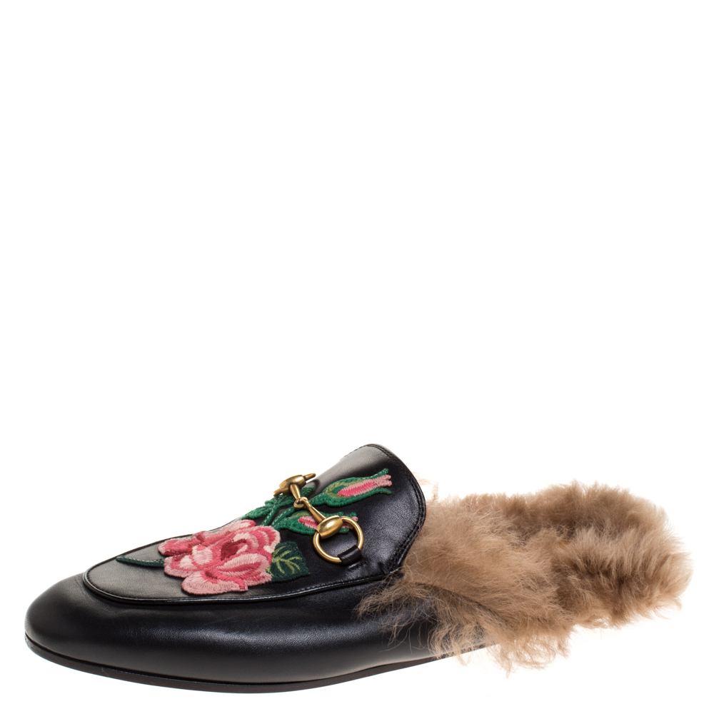 Gucci Black Floral Embroidered Leather