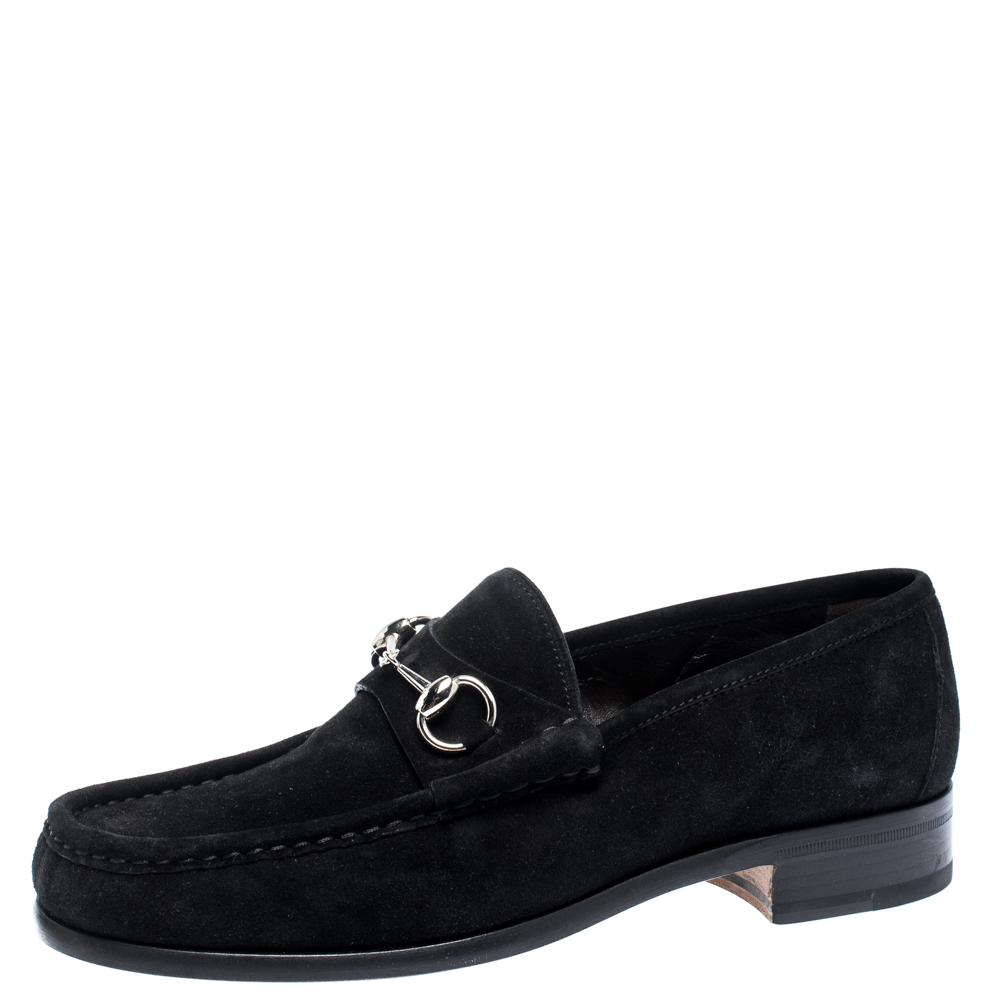Gucci Black Suede Leather Horsebit