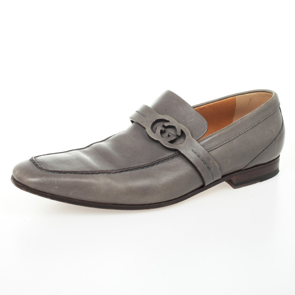 78a27d2143d Buy Gucci Grey Leather GG Loafers Size 43 29144 at best price
