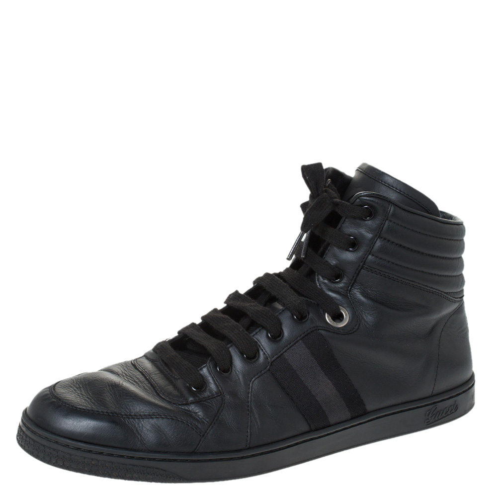 Gucci Black Leather Viaggio Web Detail High Top Sneakers Size 45