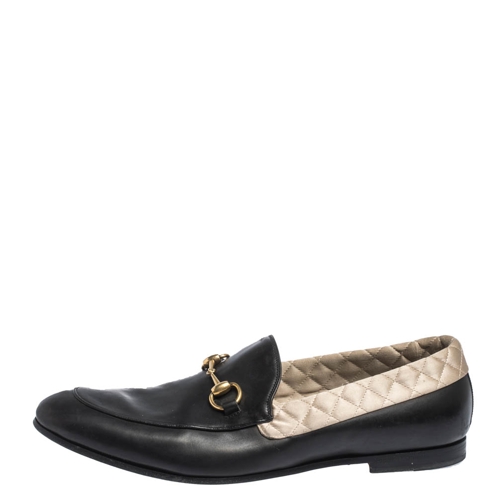 Gucci Black Leather Jordaan Horsebit Loafers Size