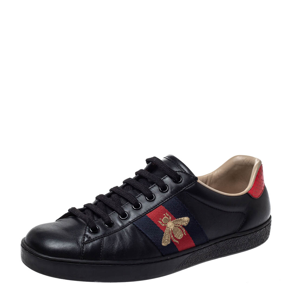 Gucci Black Leather Ace Web Bee Low Top Lace Up Sneakers Size 40.5
