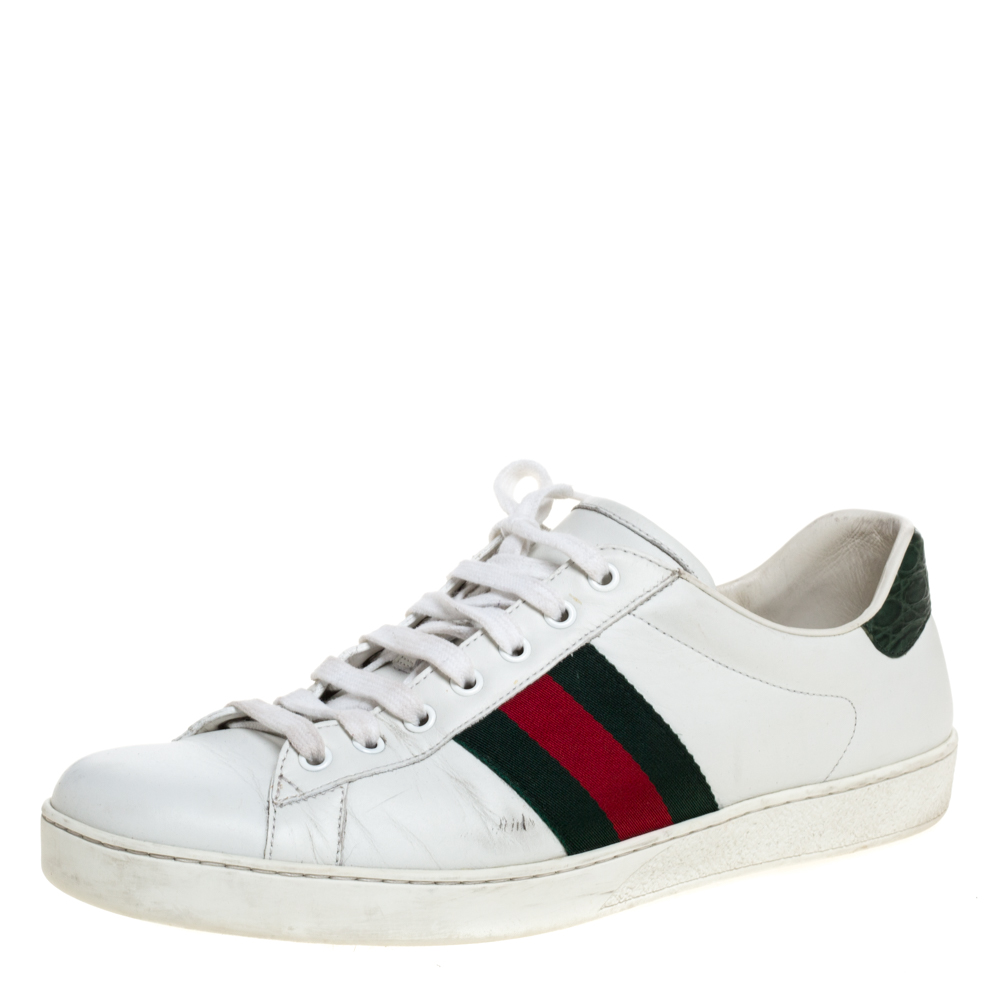Pre-owned Gucci White Leather Ace Web Detail Low Top Sneakers Size 44