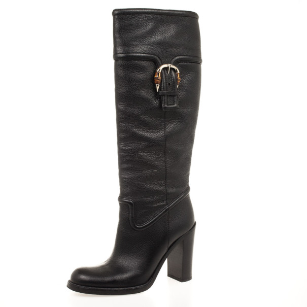 Gucci Black Leather Bamboo Classic High Knee Length Boots Size 38.5