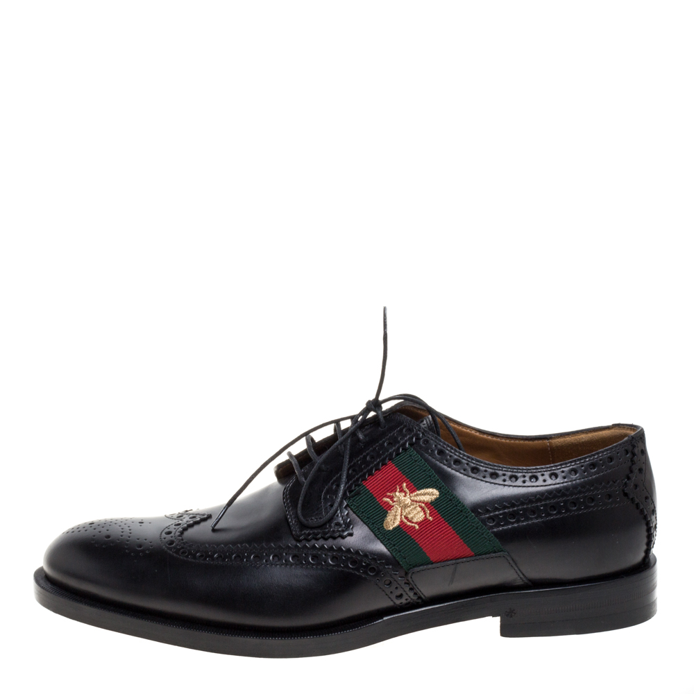 Gucci Black Brogue Leather Bee Web Detail Lace Up Derby Size 42