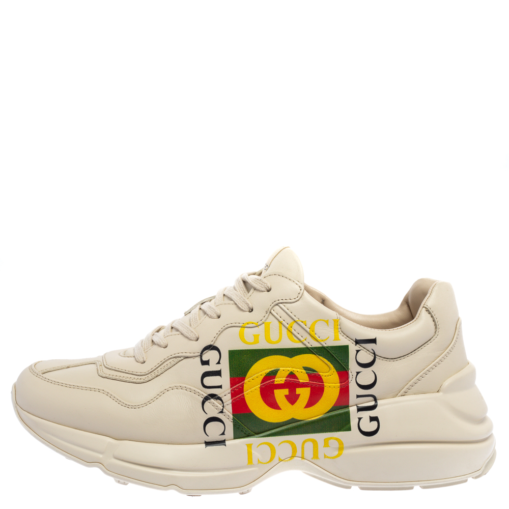 Gucci Mystic White Leather Gucci Square Logo Rhyton Low Top Sneakers Size 43  - buy with discount