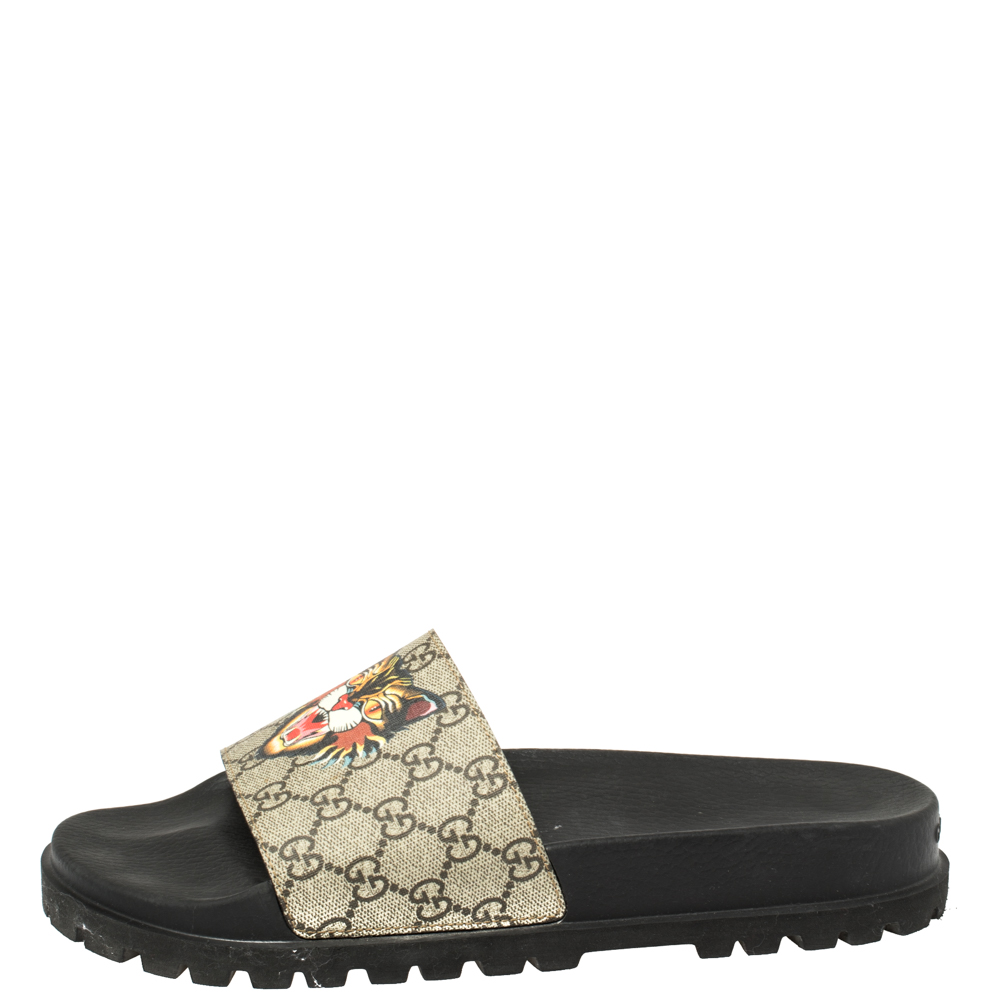 Gucci Beige Coated Canvas GG Supreme Angry Cat Slide Sandals Size 45