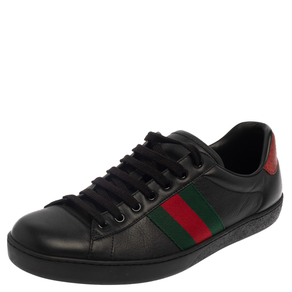 Pre-owned Gucci Black/red Leather Ace Web Low Top Sneakers Size 43