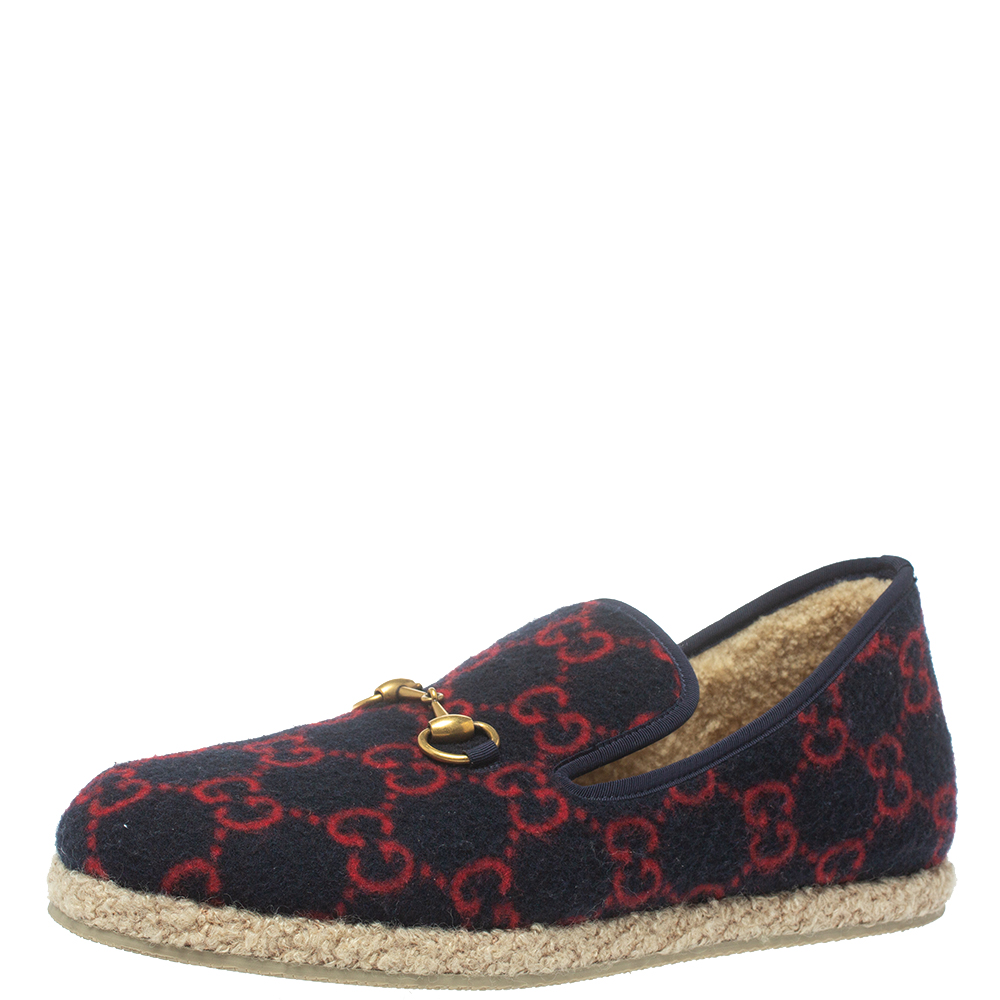 Pre-owned Gucci Blue Tweed And Wool Fria Horsebit Loafers Size 43