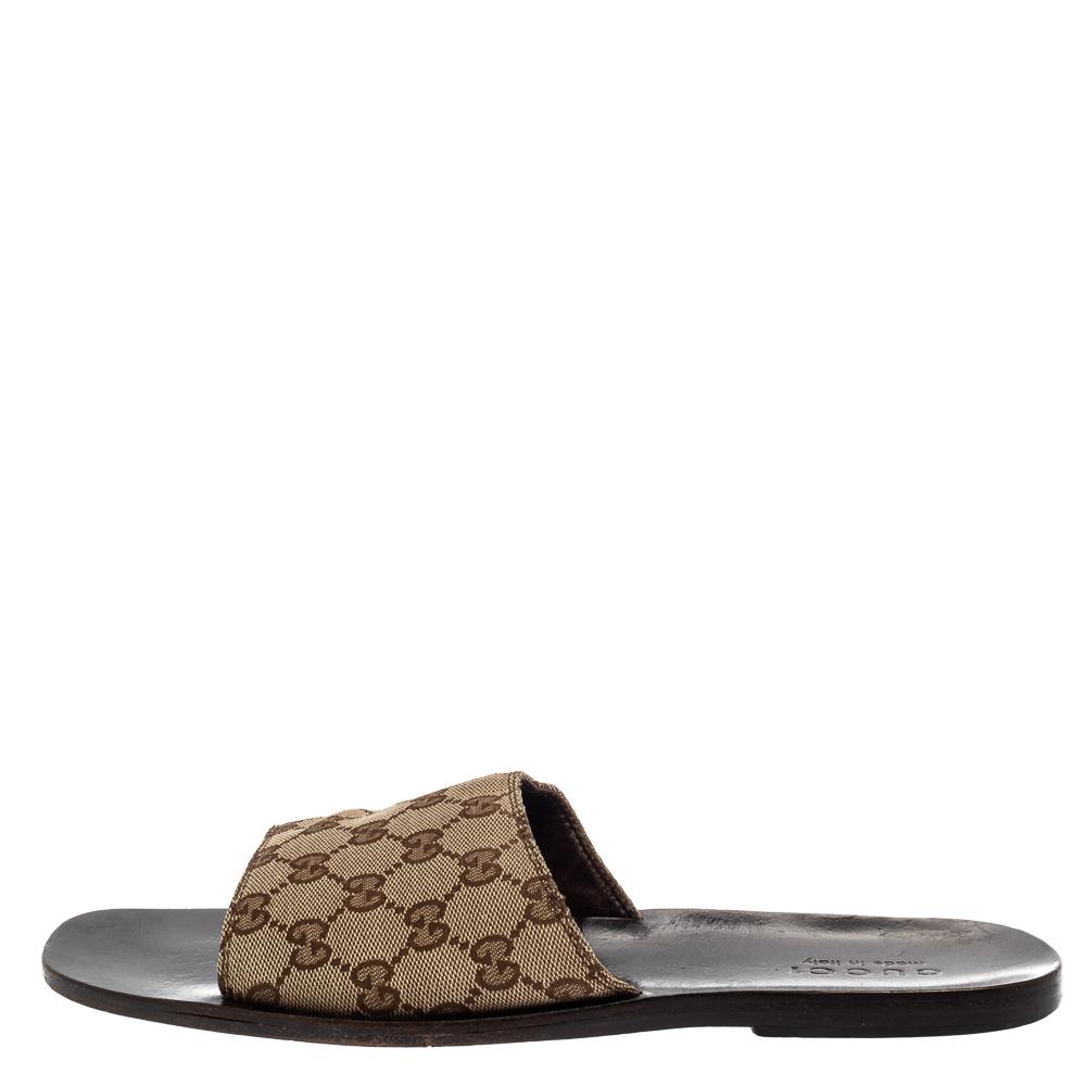 Gucci Beige GG Supreme Slide Sandals Size 41.5