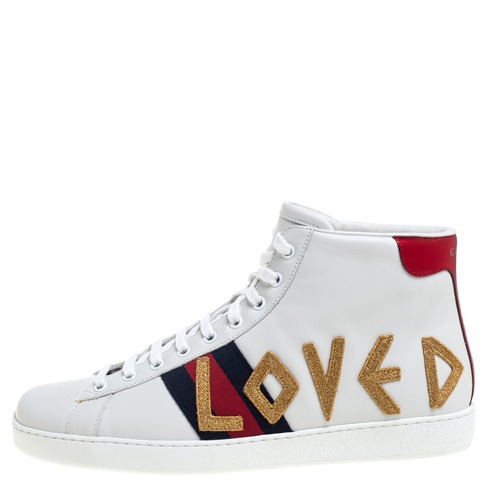 Gucci White Leather Loved New Ace High Top Sneakers Size 43  - buy with discount