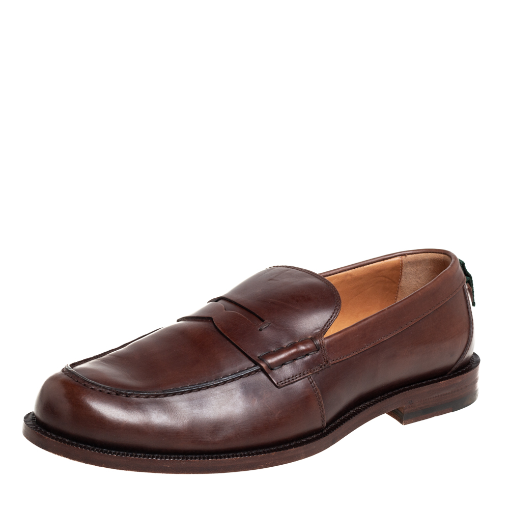 Pre-owned Gucci Brown Leather Penny Loafers Size 42.5