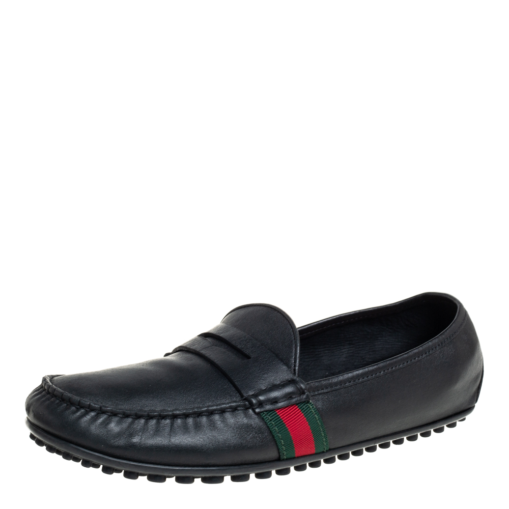 Pre-owned Gucci Black Leather Slip On Loafers Size 42.5