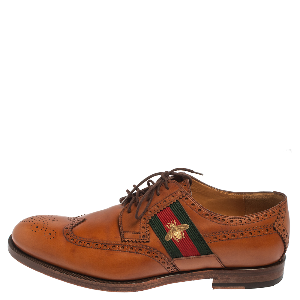 Gucci Tan Leather Bee Web Detail Lace Up Brogue Oxfords Size 44.5