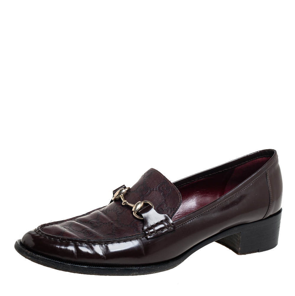 Pre-owned Gucci Ssima Leather Horsebit Slip On Loafers Size 41 In Brown