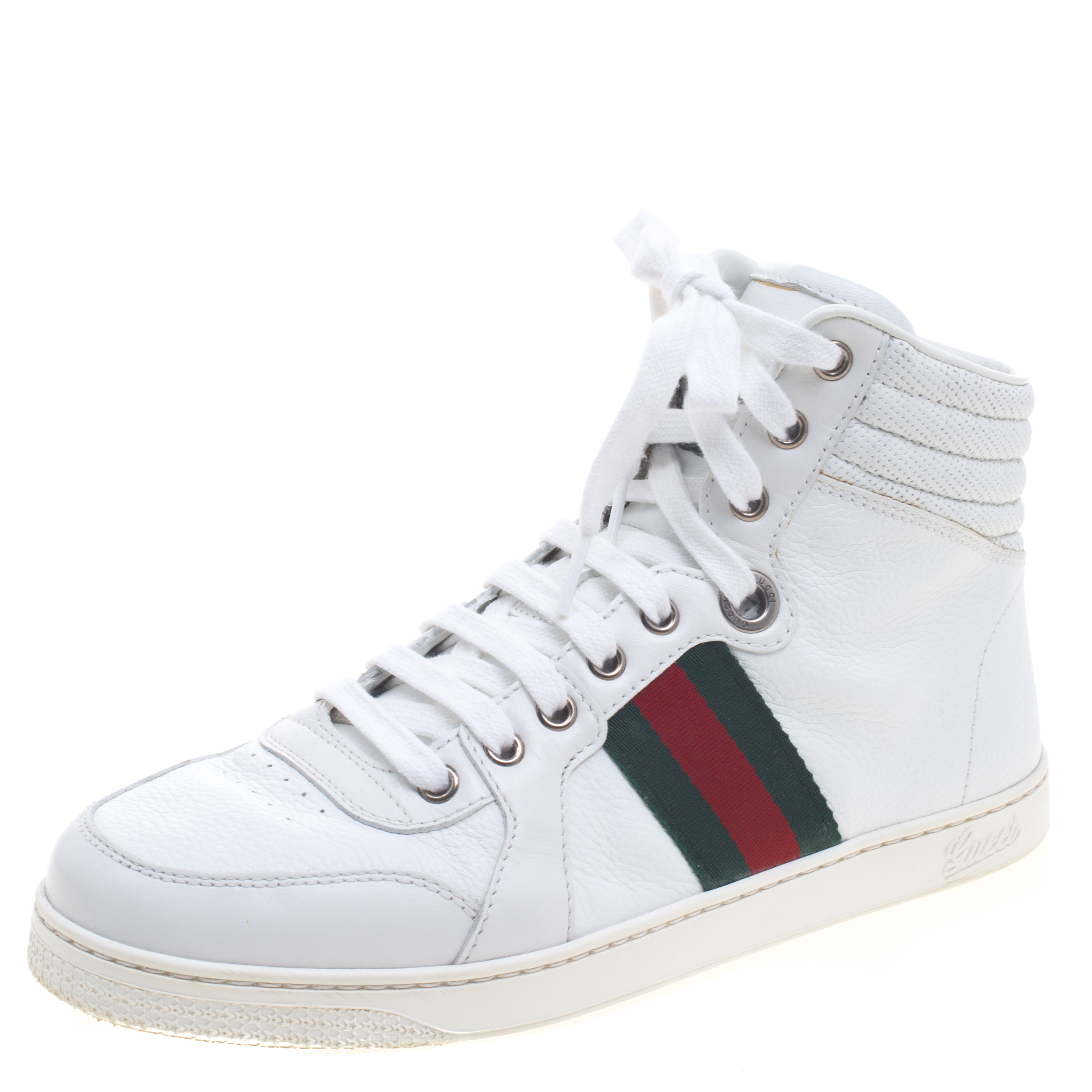 54c9071efce Buy Gucci White Leather Web Detail High Top Sneakers Size 40 94776 ...