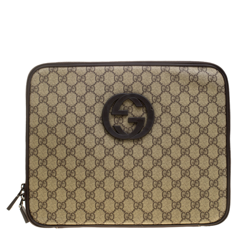 Gucci Beige GG Supreme Canvas Interlocking GG Netbook Case