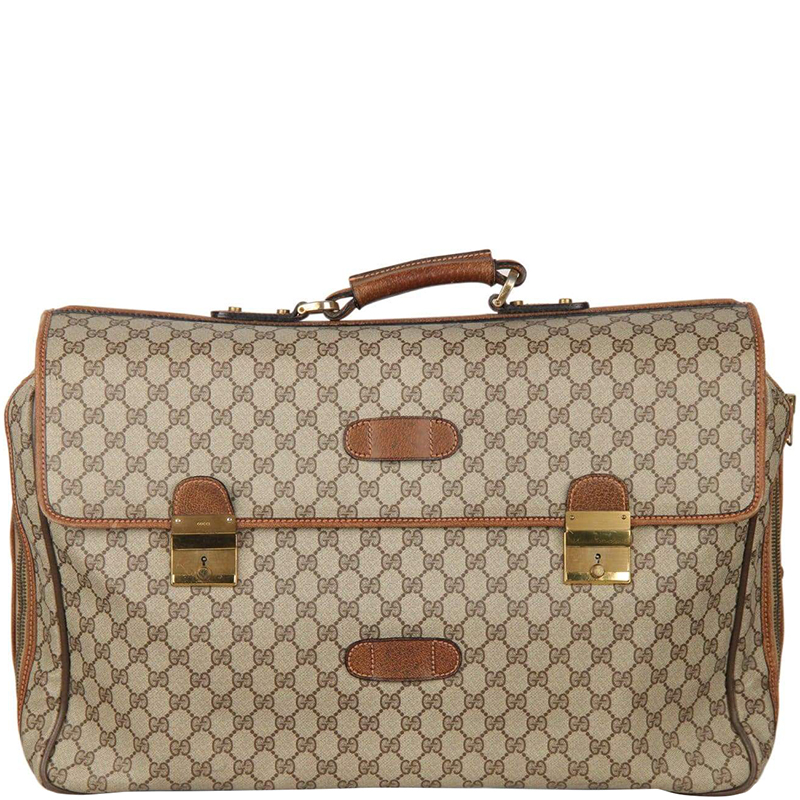 a57d973e57f ... Gucci Beige Brown GG Coated Canvas Vintage Travel Briefcase. nextprev.  prevnext