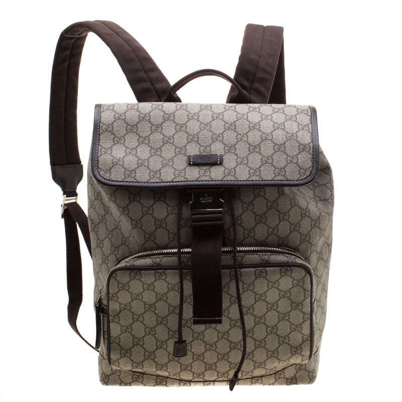 8d0f6c261 ... Gucci Beige/Brown GG Canvas and Leather Medium Flaptop Backpack.  nextprev. prevnext