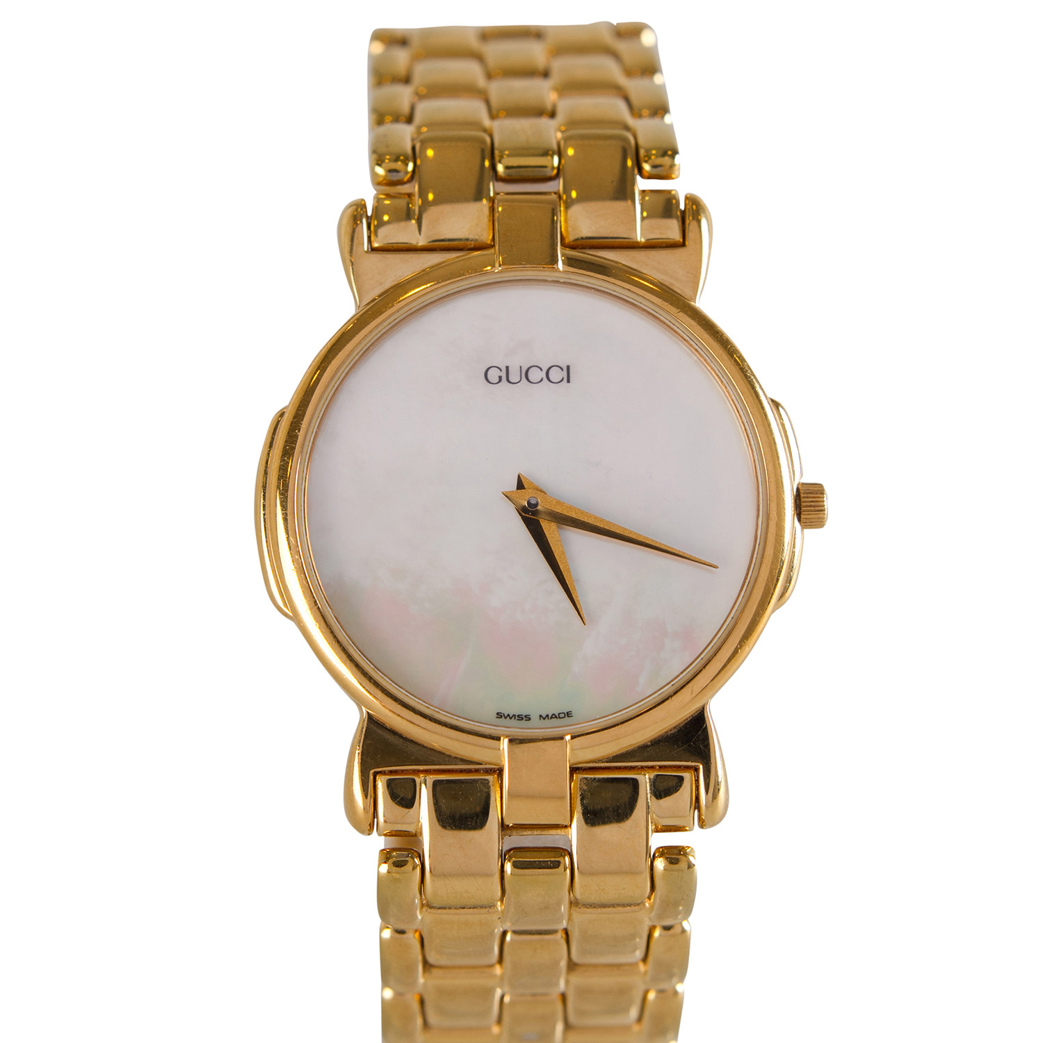 Gucci Mother of Pearl Gold Plated 3400M Men's Wristwatch 30 mm