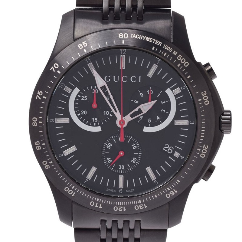 Gucci Black Stainless Steel Timeless Chrono 126.2 Men's Wristwatch 44MM