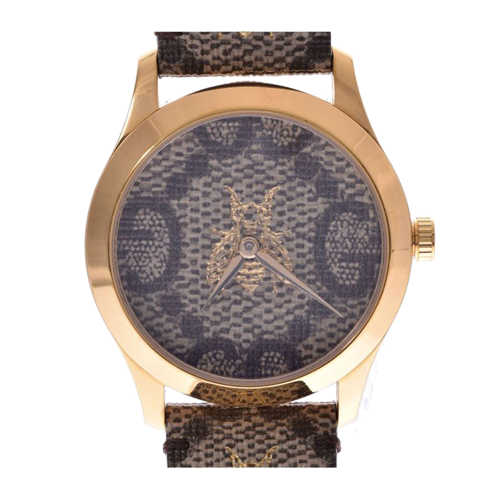 Gucci Beige Gold Plated G Timeless 126.4 Men's Wristwatch 38 MM