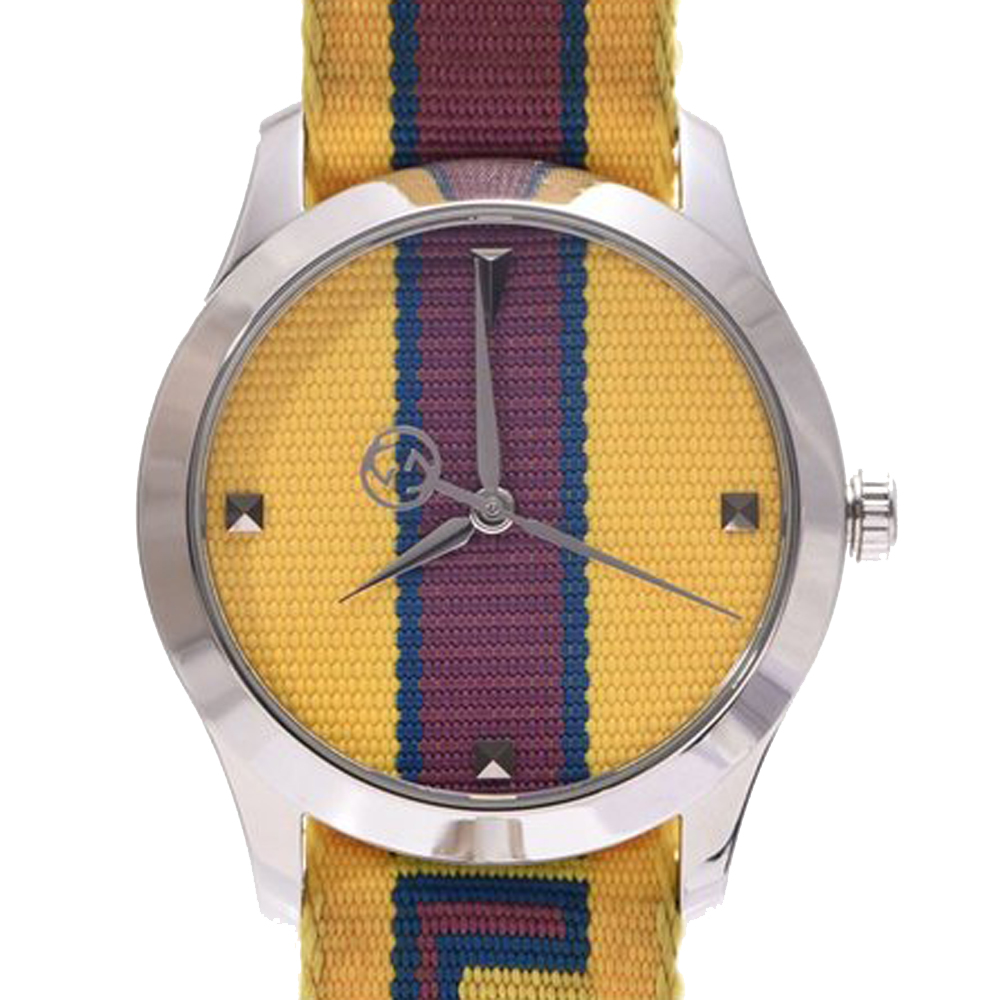 Pre-owned Gucci Yellow/bordeaux Stainless Steel G-timeless 126.4 Men's Wristwatch 38 Mm