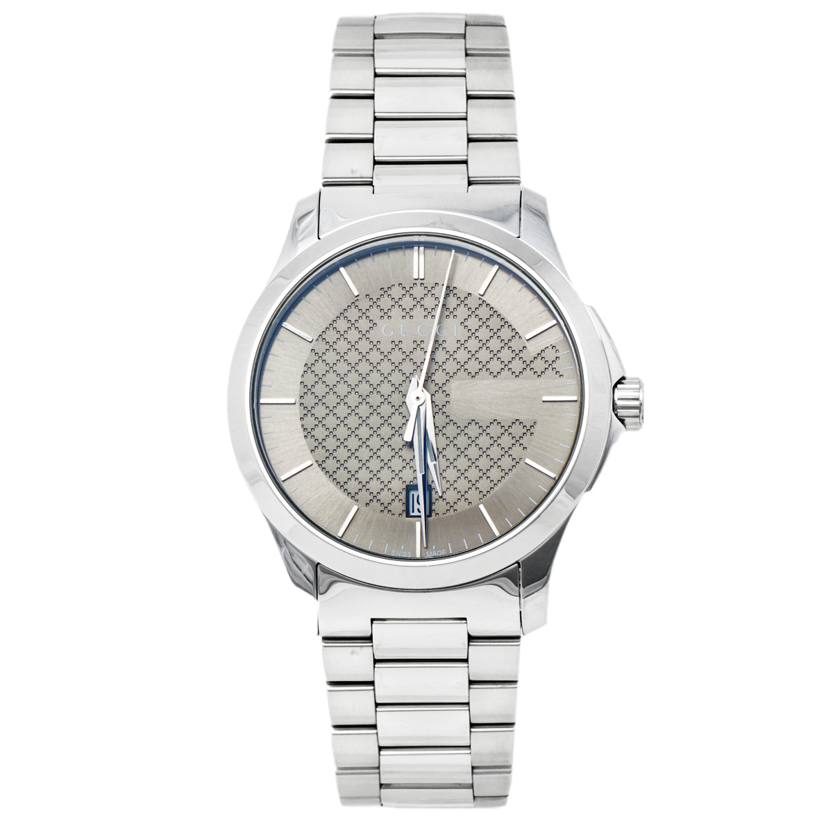 GUCCI SILVER GREY STAINLESS STEEL G-TIMELESS 126.4 MEN'S WRISTWATCH 38 MM
