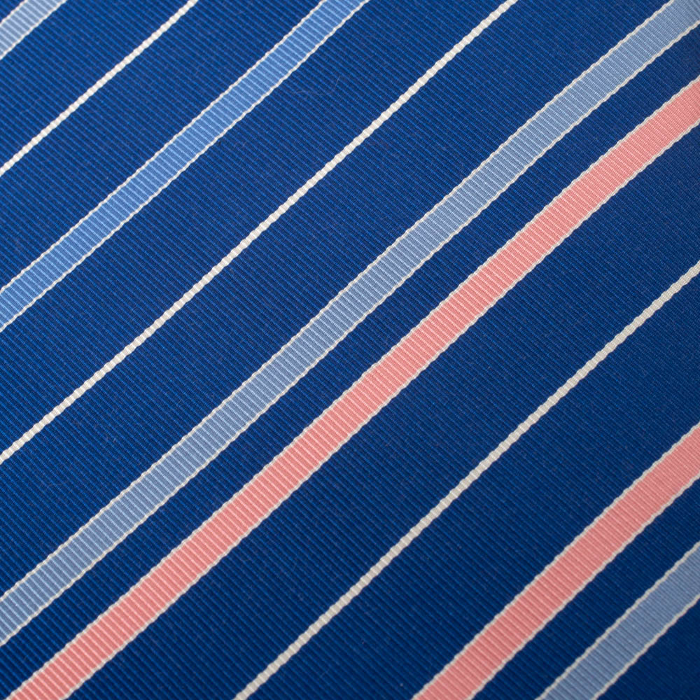 Hermes Blue Diagonal Striped Traditional Cotton & Silk Tie