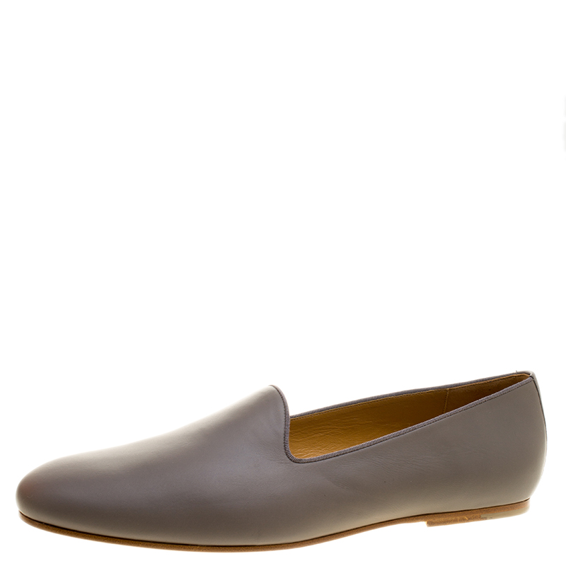 Hermes Grey Leather Gaspard Loafers Size 46