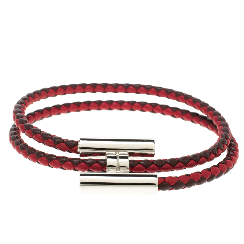 00a3bfe46f4 Buy Hermes Tournis Tresse Bicolor Woven Leather Palladium Plated H ...