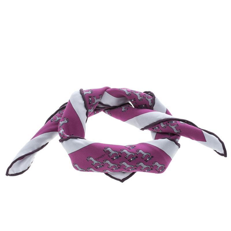 Hermes Purple and Grey Equestrian Rider Print Silk Pocket Square