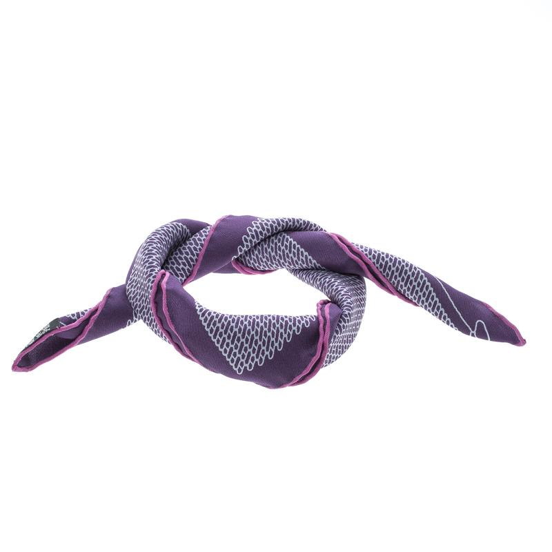 Hermes Purple Cursive H Pattern Printed Silk Pocket Square