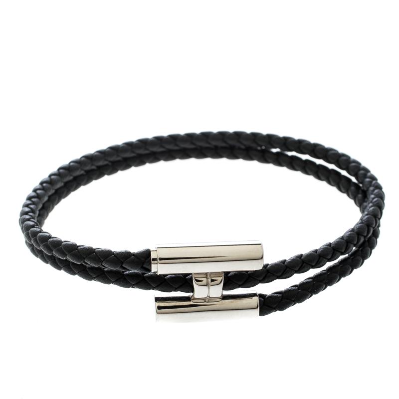 a14f0efe418 Buy Hermes Tournis Tresse Black Leather Palladium Plated Bracelet ...