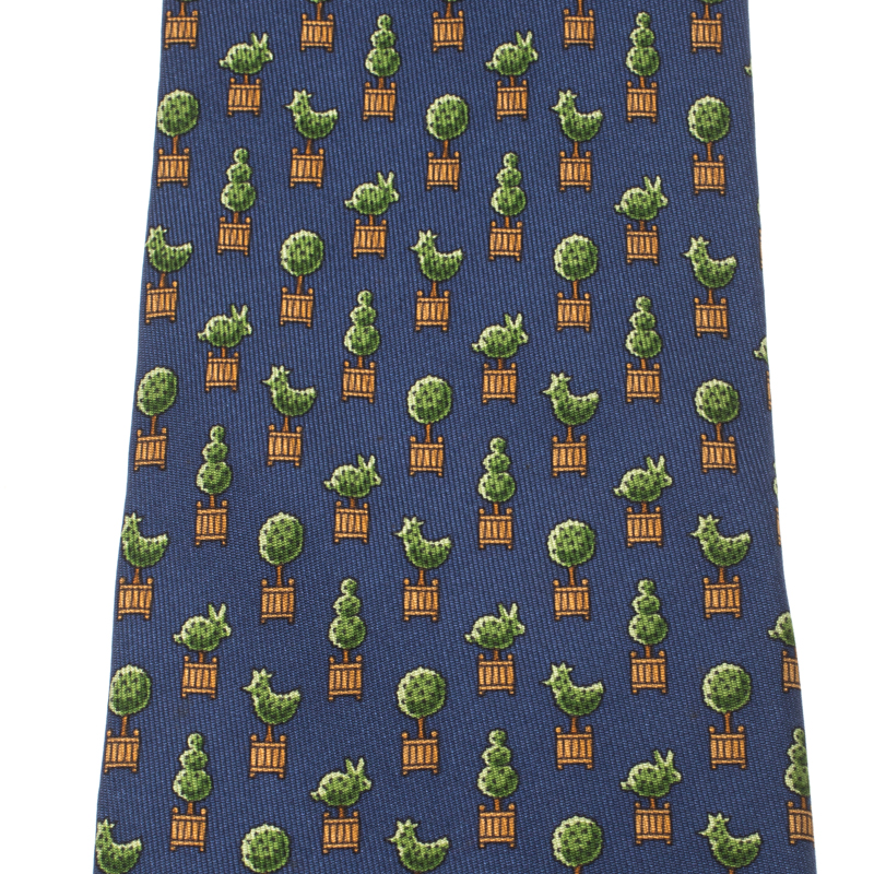 Hermes Navy Blue Whimsical Topiary Animal Printed Silk Traditional Tie