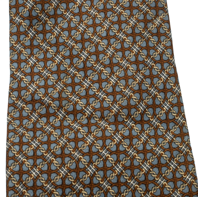 Hermes Grey and Brown Chain Link Pattern Printed Silk Tie, Multicolor