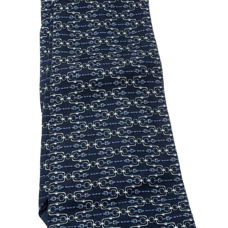 Hermes Navy Blue Bridle Printed Silk Tie
