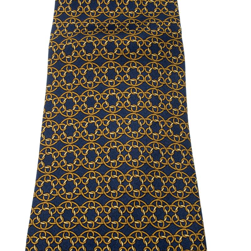 Hermes Vintage Navy Blue Loop Link Printed Silk Tie