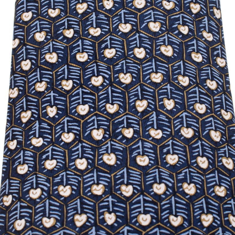 Hermes Vintage Navy Blue Honeycomb Pattern Silk Tie