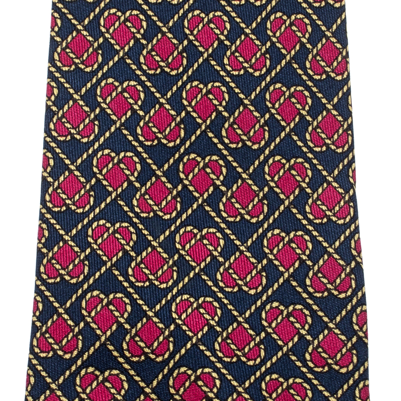 Hermes Navy Blue and Pink Silk Rope Heart Print Tie